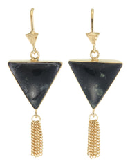 SPLENDOUR TASSEL PULL THROUGH EARRINGS - BLACK ONYX - gold plate on STERLING silver by tiger frame jewellery