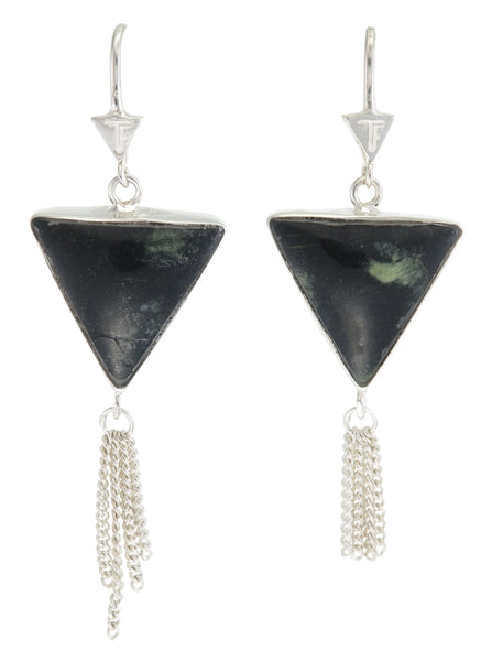 SPLENDOUR TASSEL PULL THROUGH EARRINGS - JASPER - SILVER
