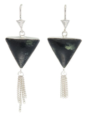 SPLENDOUR TASSEL PULL THROUGH EARRINGS - BLACK ONYX - STERLING silver by tiger frame jewellery