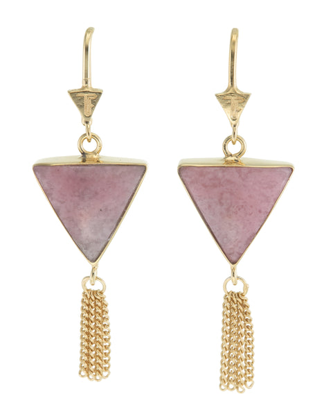 SPLENDOUR TASSEL PULL THROUGH EARRINGS - RHODONITE- GOLD