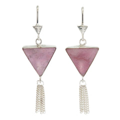 SPLENDOUR TASSEL PULL THROUGH EARRINGS - RHODONITE - sterling silver by tiger frame jewellery
