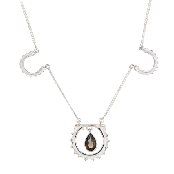 SUNRISE NECKLACE SMOKY QUARTZ - SILVER