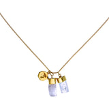SUPERPOWER CHARM NECKLACE - AQUAMARINE & KUNZITE - GOLD PLATE on sterling silver by tiger frame jewellery