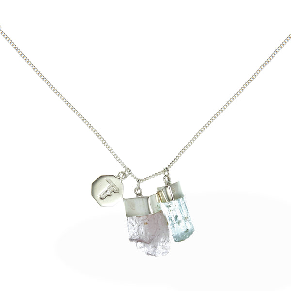 SUPERPOWER CHARM NECKLACE - AQUAMARINE & KUNZITE - sterling silver by tiger frame jewellery