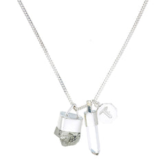 SUPERPOWER CHARM - PYRITE & QUARTZ - STERLING SILVER by tiger frame jewellery
