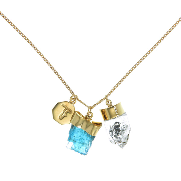SUPERPOWER CHARM - APATITE & DIAMOND QUARTZ - GOLD PLATE ON sterling silver by tiger frame jewellery