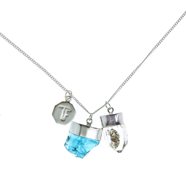 SUPERPOWER CHARM- APATITE & DIAMOND QUARTZ - SILVER