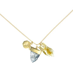 SUPERPOWER CHARM NECKLACE - CITRINE & IOLITE - gold plate on STERLING silver by tiger frame jewellery