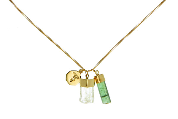 SUPERPOWER CHARM - GREEN TOURMALINE & SCAPOLITE - GOLD