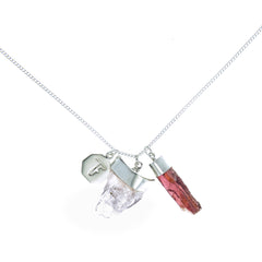 SUPERPOWER CHARM NECKLACE - MORGANITE & GARNET - sterling silver by tiger frame jewellery
