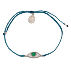 EYE PROTECTION BRACELET- TEAL GREEN - SILVER