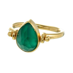 TEARDROP SWIVEL RING - GREEN ONYX - GOLD plate on sterling silver by tiger frame jewellery