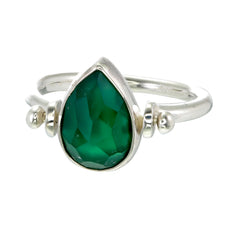 TEARDROP SWIVEL RING - GREEN ONYX - sterling silver by tiger frame jewellery