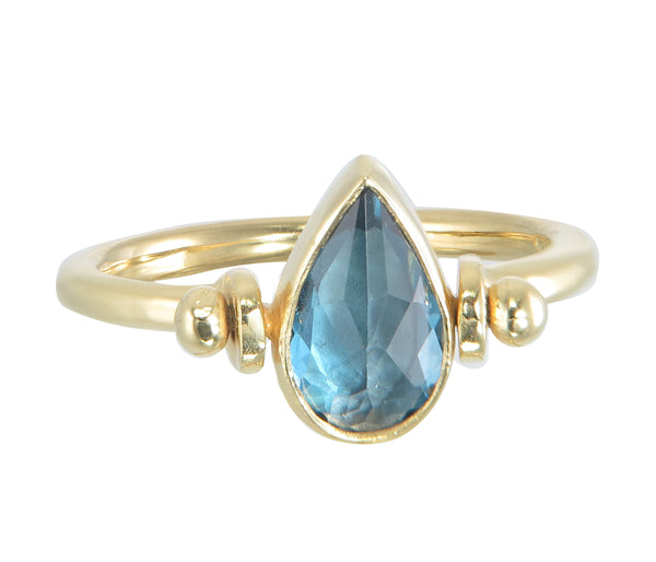 TEARDROP SWIVEL RING - LONDON BLUE TOPAZ - GOLD