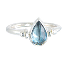 TEARDROP SWIVEL RING - LONDON BLUE TOPAZ - SILVER