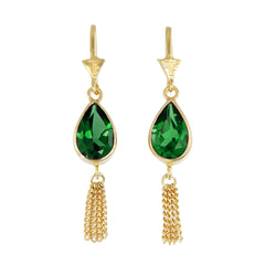TEARDROP TASSLE PULL THROUGH GREEN ONYX - GOLD