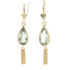 TEARDROP TASSEL - GREEN AMETHYST - GOLD plate on sterling silver by tiger frame jewellery