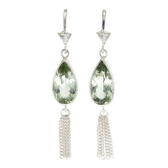 TEARDROP TASSEL - GREEN AMETHYST - sterling silver by tiger frame jewellery