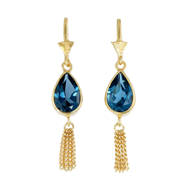 TEARDROP TASSEL- LONDON BLUE TOPAZ - GOLD