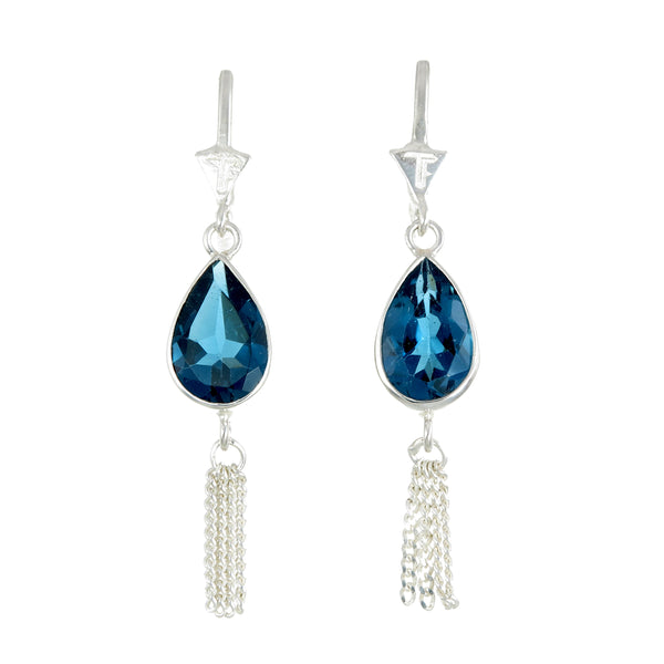 TEARDROP TASSEL- LONDON BLUE TOPAZ - SILVER