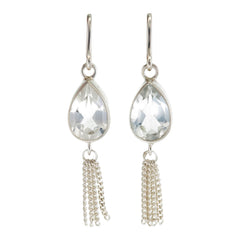 TEARDROP TASSEL - WHITE TOPAZ - sterling silver by tiger frame jewellery