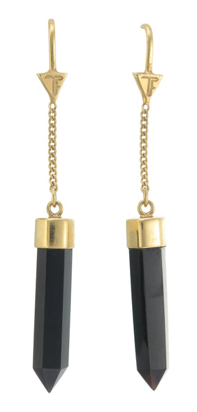 BLACK ONYX PULL THROUGH EARRINGS - GOLD plated sterling silver by tiger frame jewellery