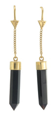 BLACK ONYX PULL THROUGH EARRINGS - GOLD