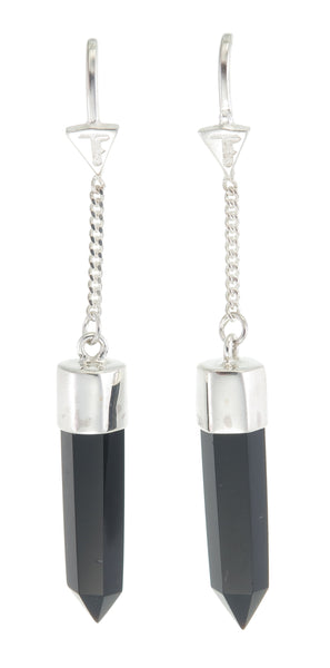 BLACK ONYX PULL THROUGH EARRINGS - sterling silver by tiger frame jewellery