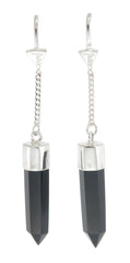 BLACK ONYX PULL THROUGH EARRINGS - SILVER