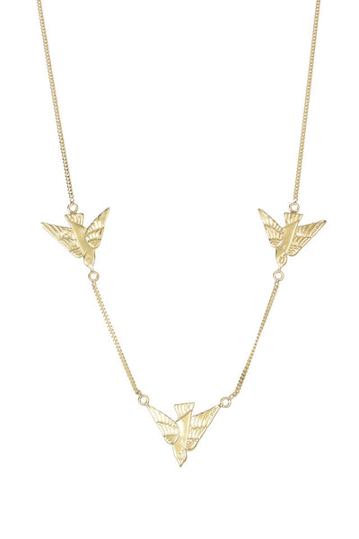flying birds gold plated sterling silver necklace by tiger frame jewellery