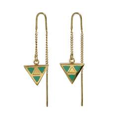 TRIANGLE PULL THROUGH EARRINGS - GREEN - gold plate on Sterling silver by tiger frame jewellery