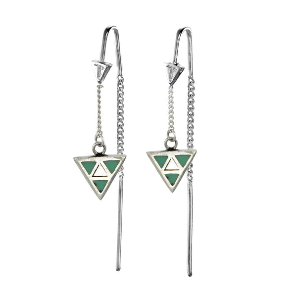 TRIANGLE PULL THROUGH EARRINGS - GREEN - Sterling silver by tiger frame jewellery