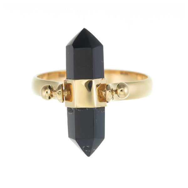 BLACK ONYX SWIVEL RING - GOLD plated sterling silver by tiger frame jewellery