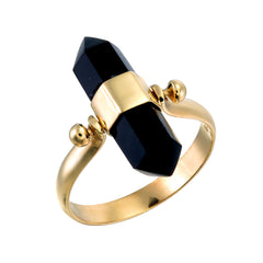 BLACK ONYX SWIVEL RING - GOLD