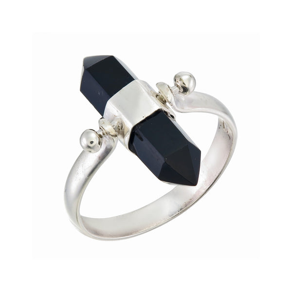 BLACK ONYX SWIVEL RING - sterling silver by tiger frame jewellery