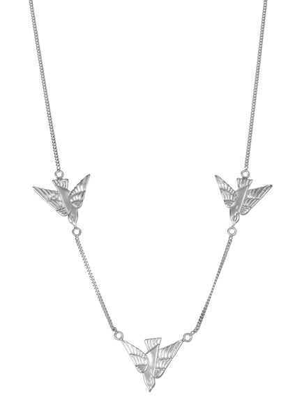 flying birds sterling silver necklace by tiger frame jewellery