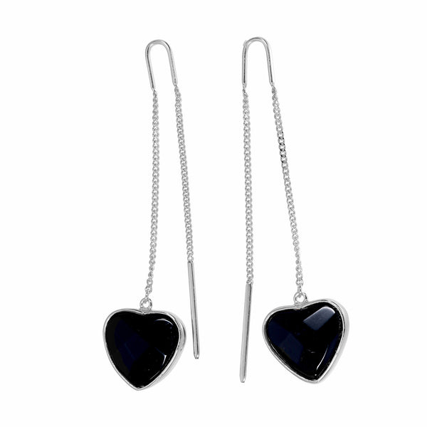 BLACK ONYX HEART PULL THROUGH EARRINGS - SILVER