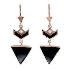 VON CHEVRON PULL THROUGH EARRINGS - BLACK ONYX - GOLD plate on sterling silver by tiger frame jewellery