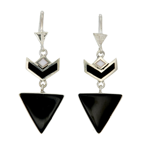 VON CHEVRON PULL THROUGH EARRINGS - BLACK ONYX - Sterling silver by tiger frame jewellery
