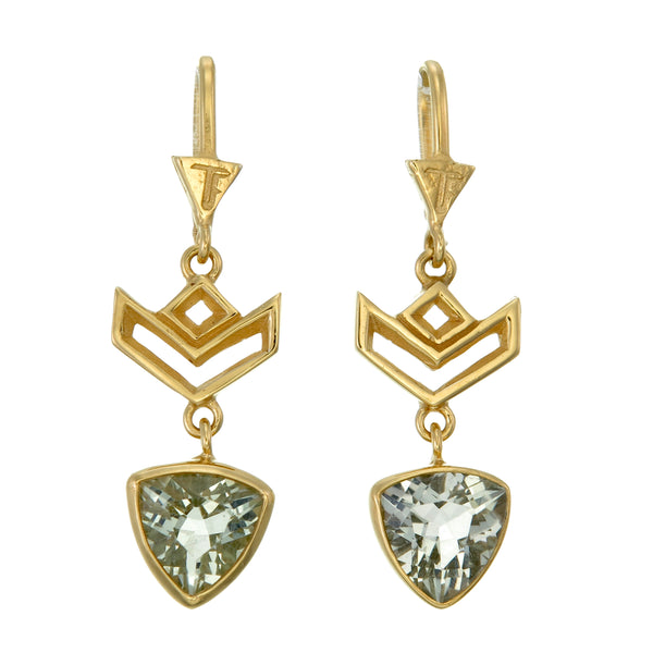 VON CHEVRON PULL THROUGH EARRINGS - GREEN AMETHYST - GOLD