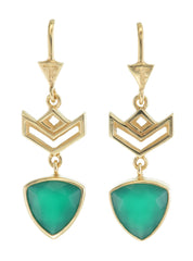 VON CHEVRON PULL THROUGH EARRINGS - GREEN ONYX - GOLD plate on sterling silver by tiger frame jewellery