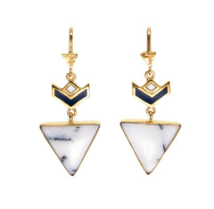 VON CHEVRON PULL THROUGH EARRINGS - HOWLITE - GOLd plate on sterling silver by tiger frame jewellery
