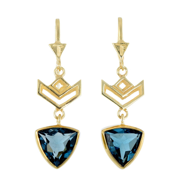 VON CHEVRON PULL THROUGH EARRINGS - LONDON BLUE TOPAZ - GOLD
