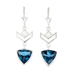 VON CHEVRON PULL THROUGH EARRINGS - LONDON BLUE TOPAZ - SILVER