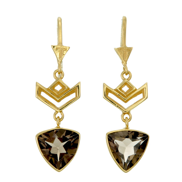 VON CHEVRON PULL THROUGH EARRINGS - SMOKEY TOPAZ - GOLD plate on sterling silver by tiger frame jewellery