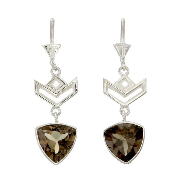 VON CHEVRON PULL THROUGH EARRINGS - SMOKEY TOPAZ - Sterling silver by tiger frame jewellery