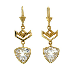 VON CHEVRON PULL THROUGH EARRINGS - WHITE TOPAZ - GOLD PLATED on sterling silver by tiger frame jewellery