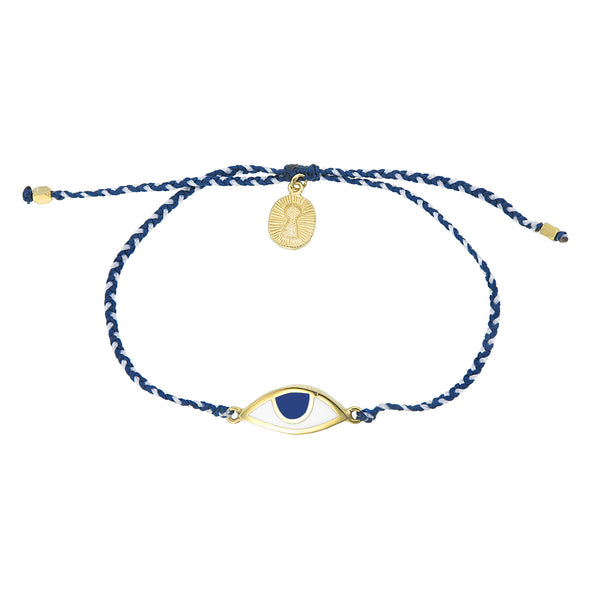 EYE PROTECTION BRACELET - BLUE AND WHITE - GOLD