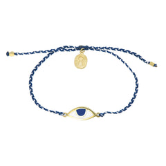EYE PROTECTION BRACELET - BLUE AND WHITE - GOLD plated sterling silver by tiger frame jewellery