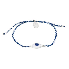 EYE PROTECTION BRACELET - BLUE AND WHITE- SILVER